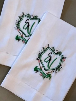 Custom Embroidered Wedding Crest Dinner Napkins