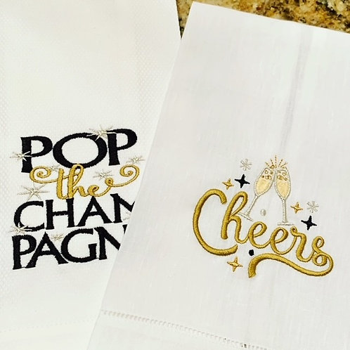 Pop the Champagne It'sEmbroidered Guest Towels