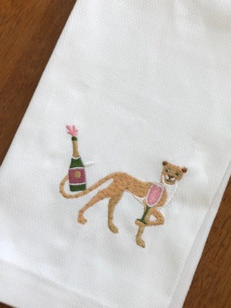 Champagne Cheetah Embroidered Pique Hand Towel