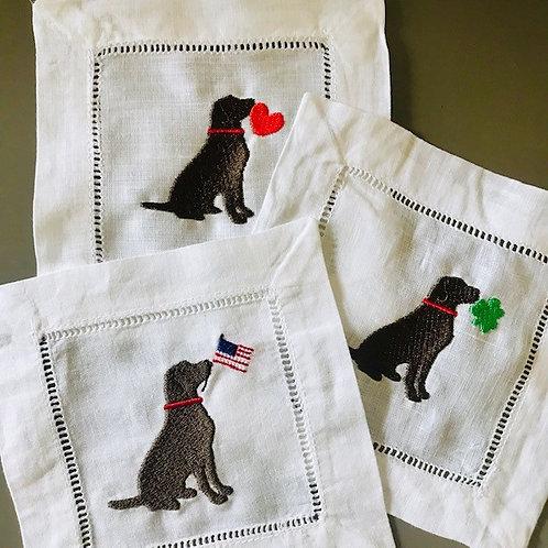 Labrador Embroidered Cocktail Napkins