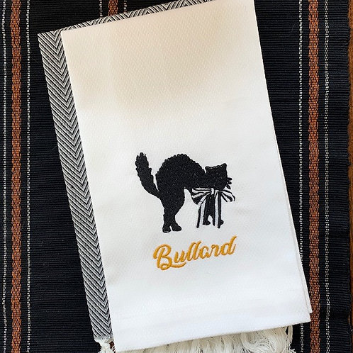 Spooky Cat Halloween Embroidered Hand Towel