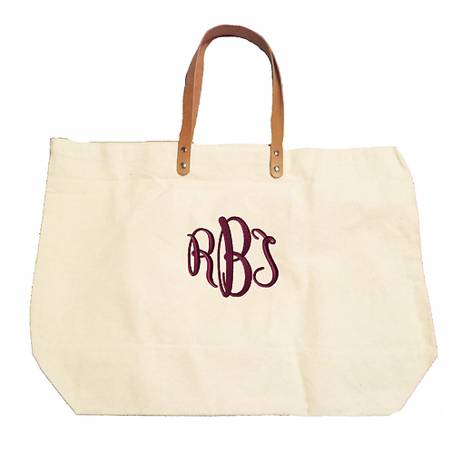 Natural Cotton Canvas Monogrammed Tote Bag