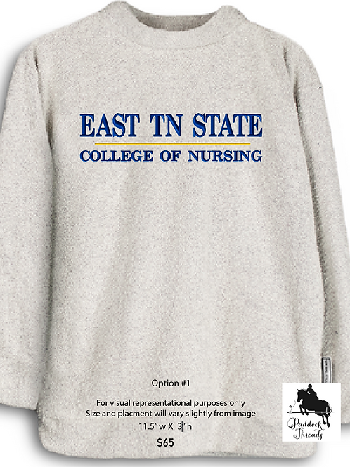 East TN State College of Nursing Woolly Threads Natural Pullover
