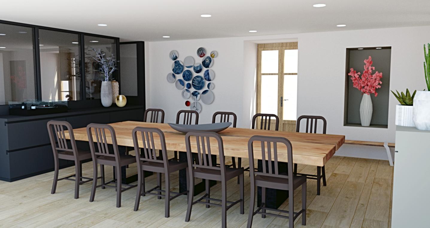 Espace salle à manger avec un nouvel aménagement et une nouvelle décoration