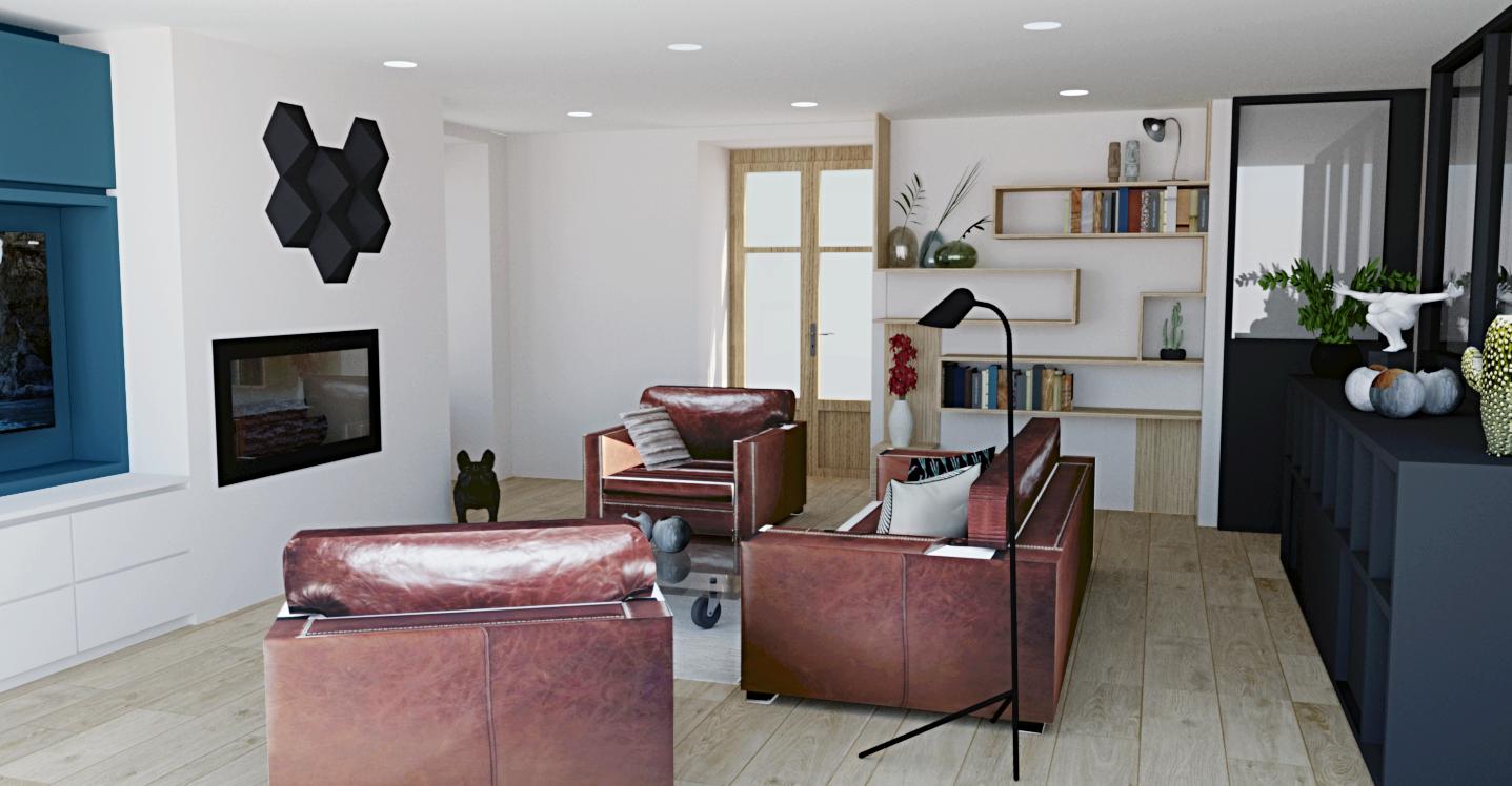 Espace salon avec canapé et TV, avec décoration moderne et épurée