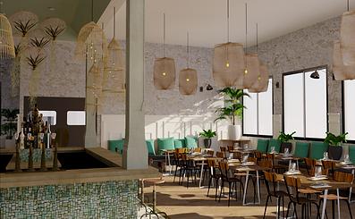 Salle de réception d'un restaurant avec bar