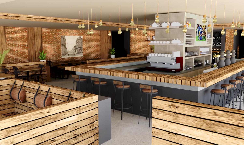 Vue 3D du restaurant présentant le nouvel agencement et la nouvelle décoration