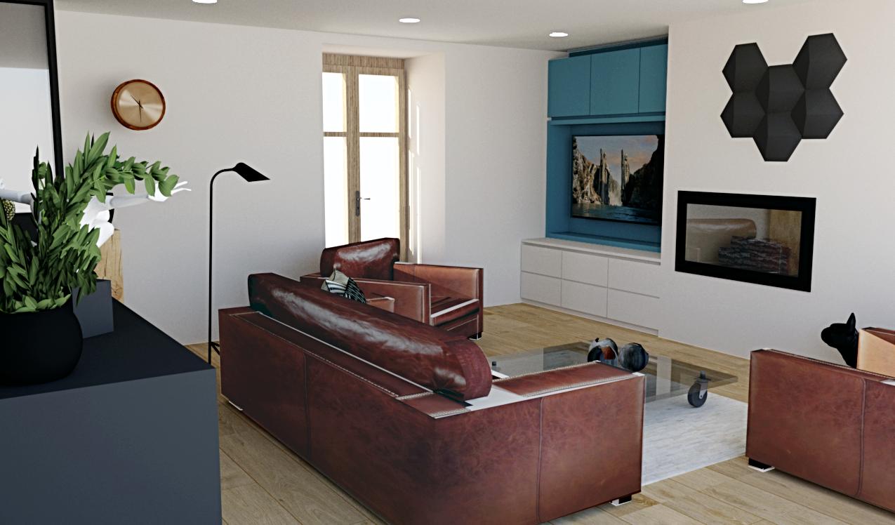 Coin salon moderne et épuré suite réaménagement et nouvelle décoration