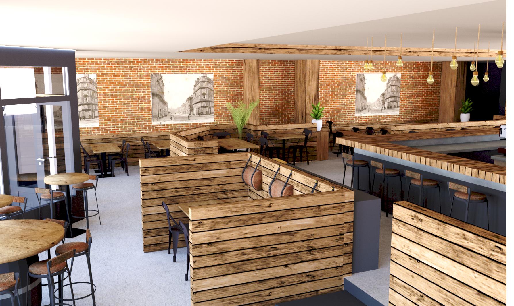 Vue 3D du restaurant avec les tables et les chaises en bois