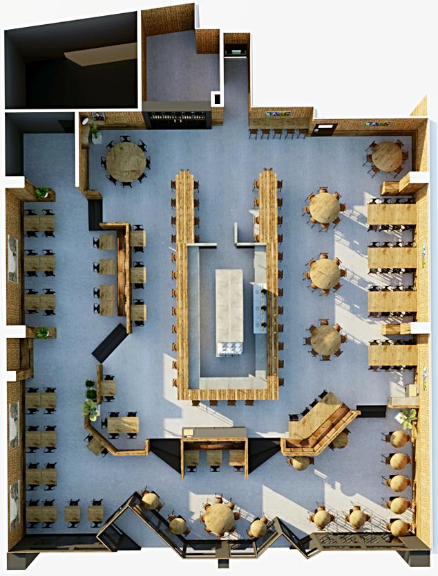 Vue en plan du restaurant avec le nouvel aménagement