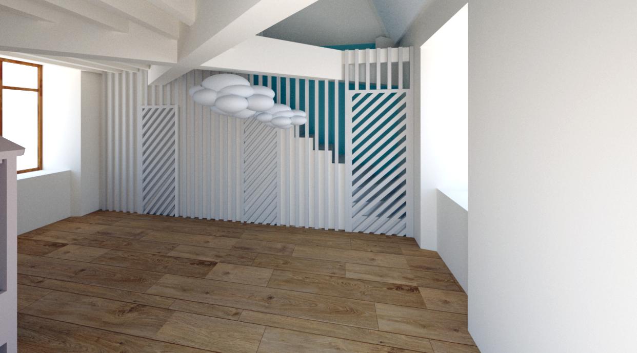Vue 3D d'une séparation en clairevoie pour sécurisation de l'escalier