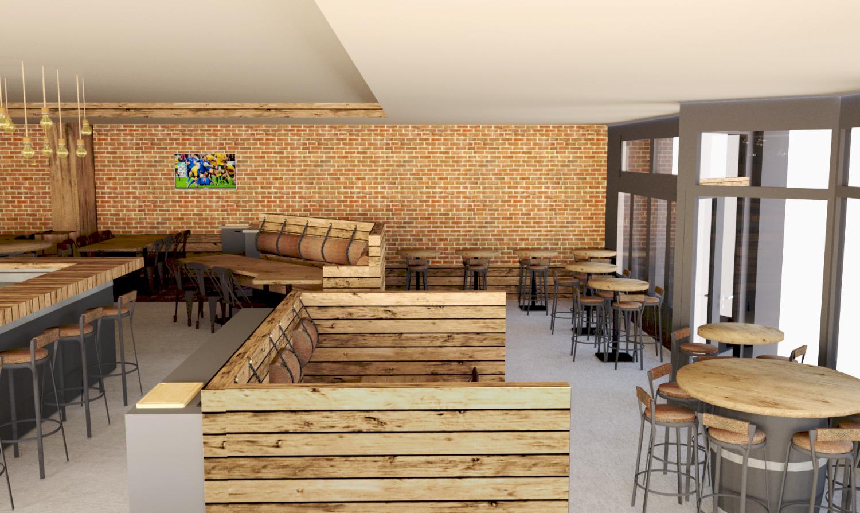 Vue 3D de la nouvelle décoration du restaurant