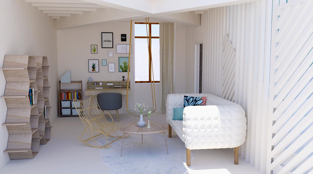 Création d'un espace bureau et salon pour une adolescente (vue 3D)