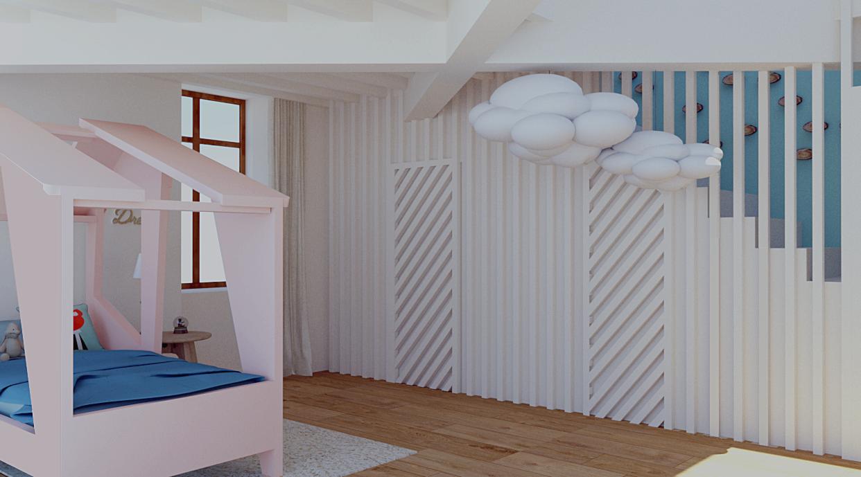 Vue 3D d'une chambre pour une petite fille