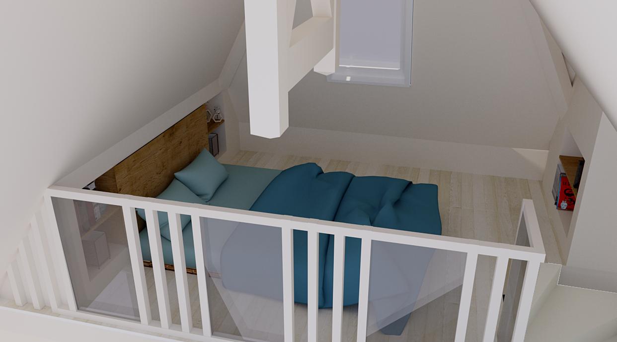 Aménagement d'une chambre en mezzanine pour une adolescente (vue 3D)