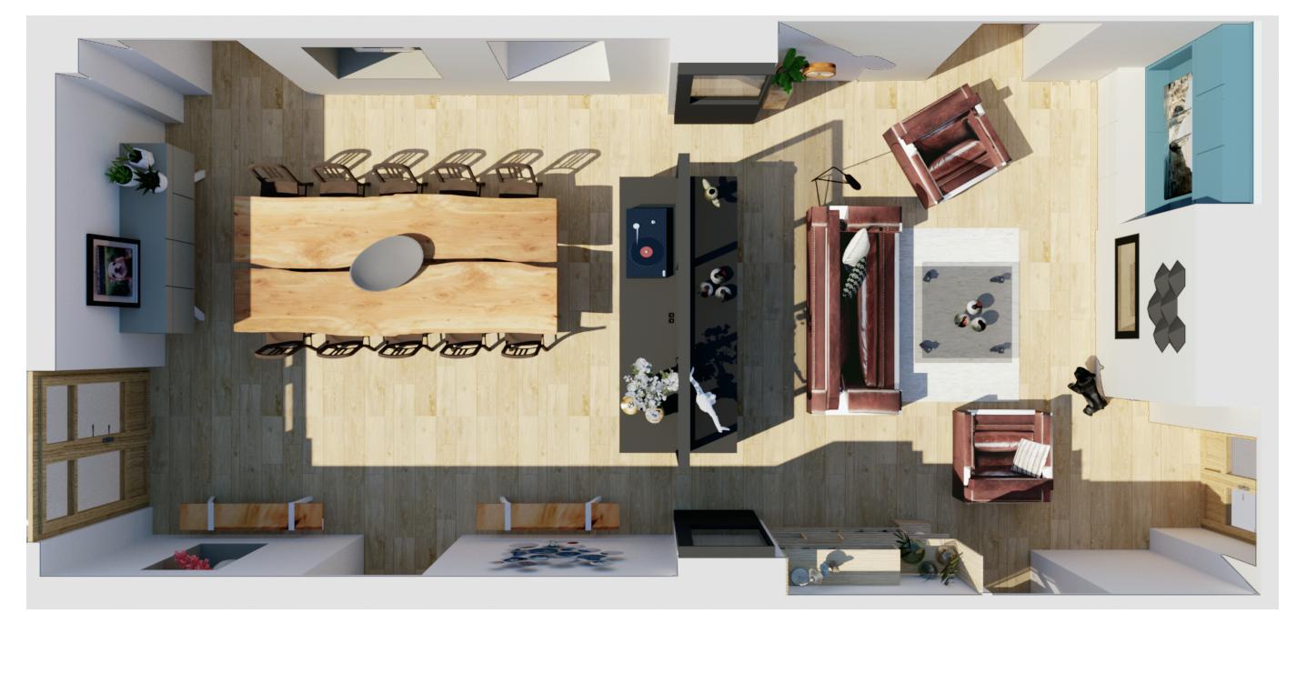 Plan du nouvel agencement de la salle à manger et du salon
