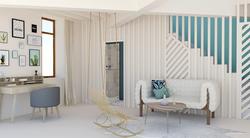 Vue 3D d'un nouvel agencement avec bureau et salon en bas pour une adolescente