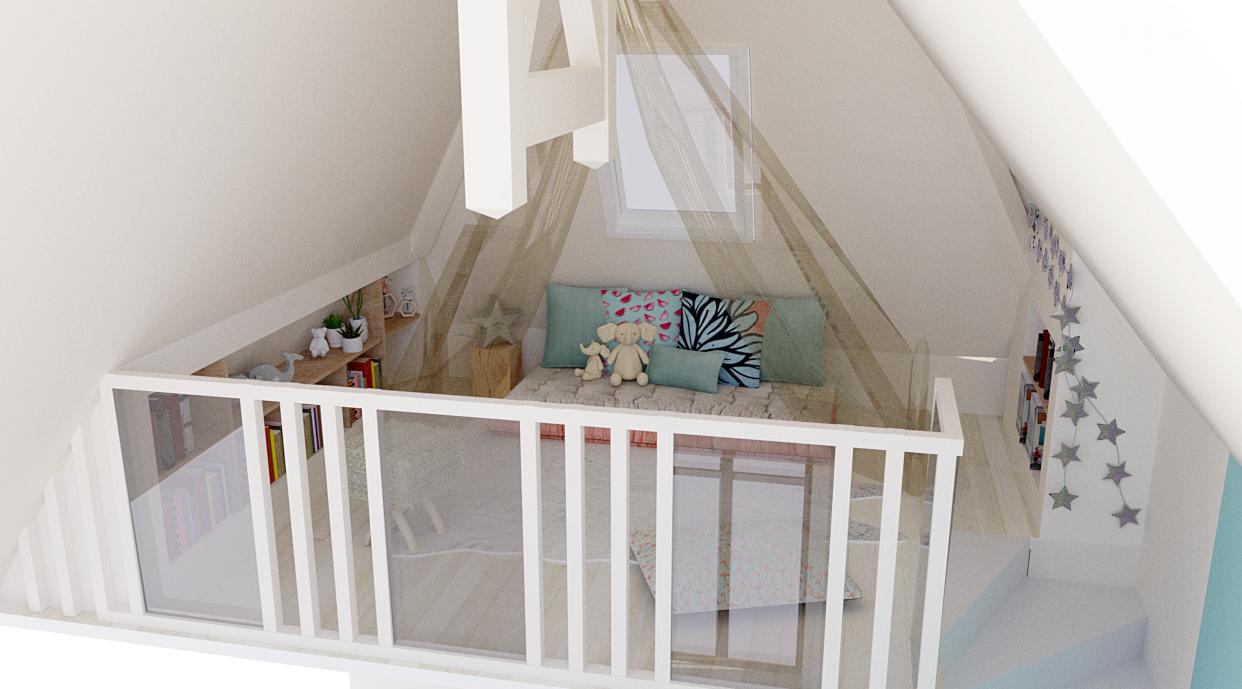 Vue 3D d'une mezzanine pour petite fille