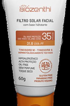 Filtro solar facial com base hidratante BEGE CLARO Biozenthi 60g