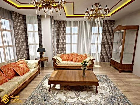 Klasik Oturma Odası Tasarımı