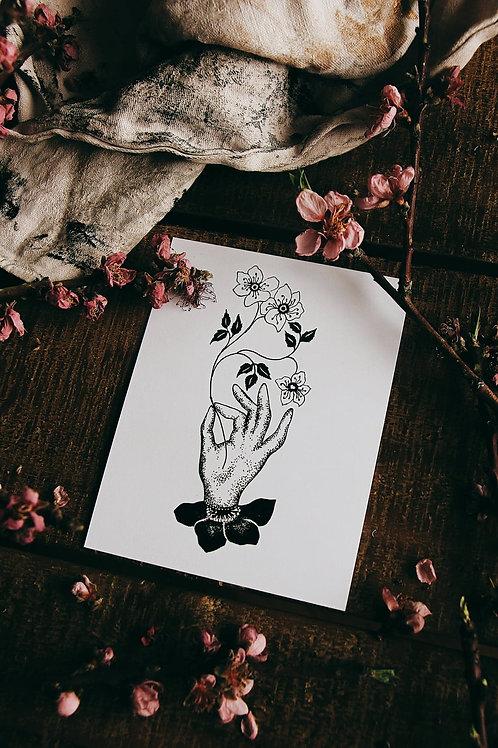 "Carte postale "" Main fleurie"""