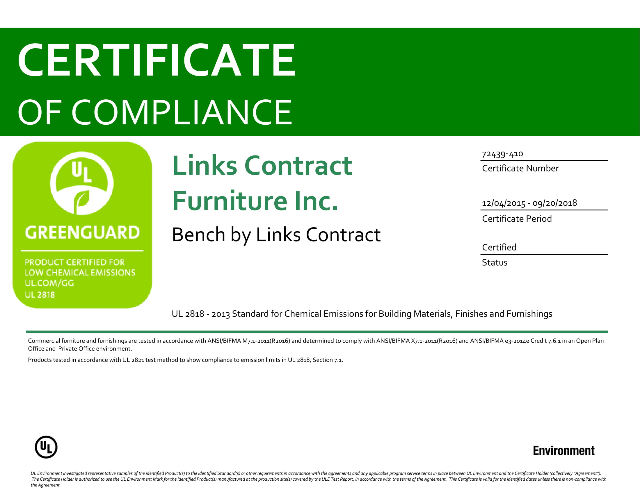 Bench Certification