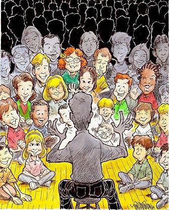Tim Hartman storyteller assembly illustration story