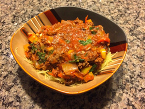 Veggie & Meat Sauce on Spaghetti Squash Noodles