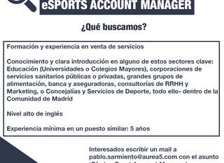 ¡Estamos buscando eSports Account Manager!