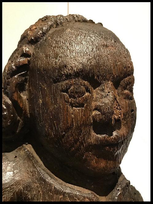Ange présentant un écu - Bois sculpté -  XVe siècle