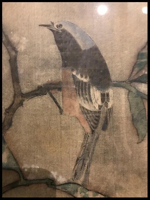 Chine Indochine peinture sur soie Oiseau sur une branche