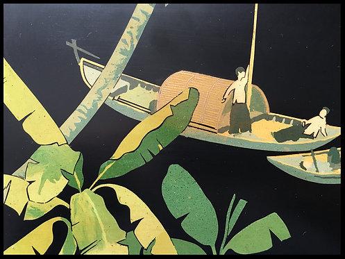 N'guyen Than le (1919-2003) - Laque sur panneau