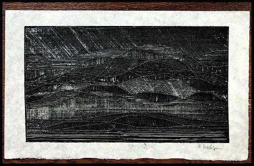 Alwin Carstens Bois Gravé Montagnes Abstraction Allemande