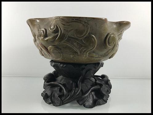Grand Rince-Pinceaux en stéatite - Chine XIX