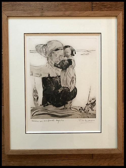 Paul-Auguste Masui (1888-1981) - Scènes Bretonnes: Mère et Enfant
