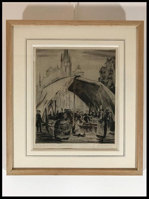 Paul-Auguste Masui (1888-1981) - Scènes Bretonnes: la tente à cidre