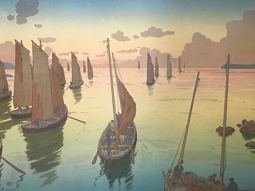 Rivière Henri (1864-1951) Le coucher de soleil