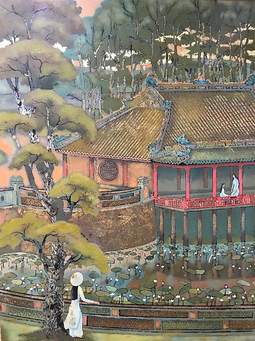 Ho Hoang Dai 4 panneaux laqués