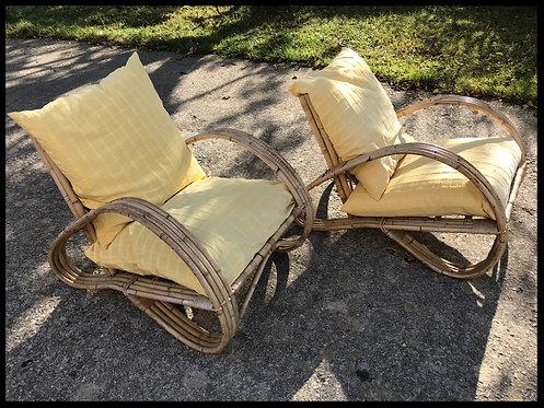 Paire de fauteuils 1950 - Bambou et rotin