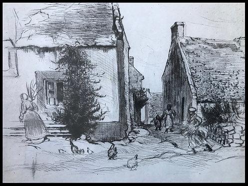 Eugène Delatre (1864-1938) Village breton