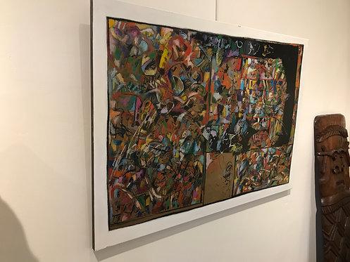 Tirilly Jean (1946-2009) - Acrylique sur papier craft marouflé sur toile