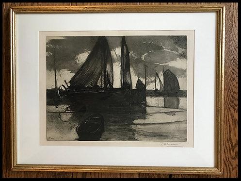 Paul-Auguste Masui (1888-1981) - Départ pour la pêche