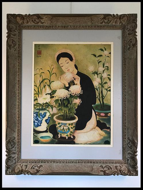 """Lim Khim Mary, peinture sur soie, """"A l'approche du Tet"""" (Le Pho) - A"""