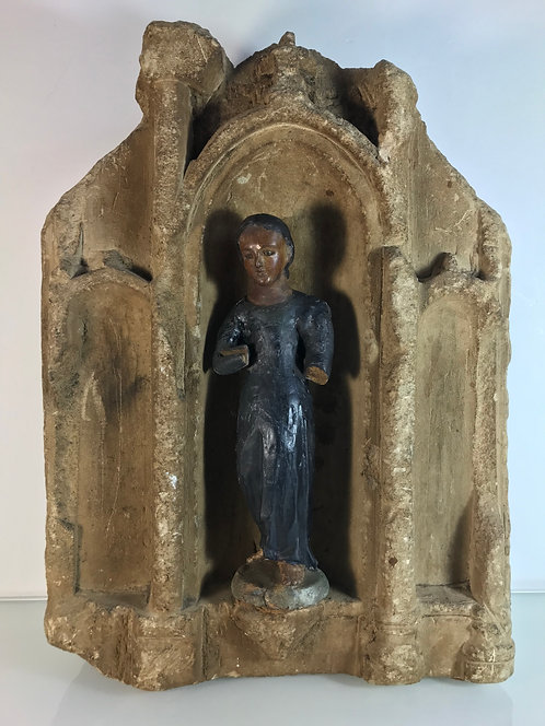 Autel sculpté & Vierge Marie - XVIIe siècle