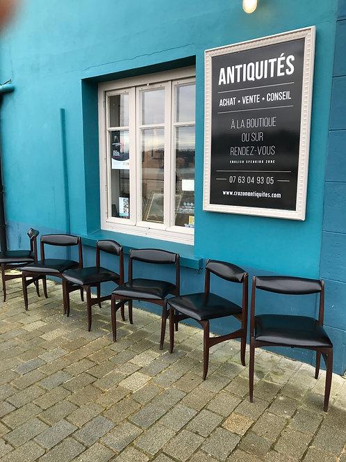 Design Italien - 6 chaises palissandre et simili cuir