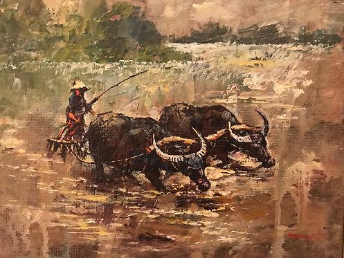 Les peintres voyageurs Rizières en indochine