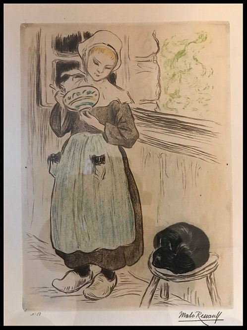 Malo-Renault Emile (1870-1938) - Petite Fouesnantaise et son chat
