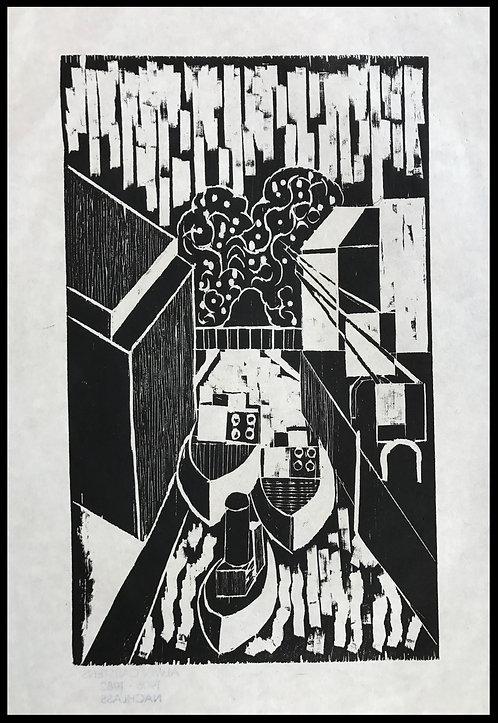 Alwin Carstens Bois Gravé Expressionisme Allemand Design 1950 Port