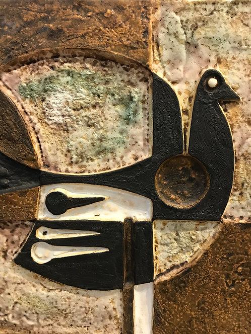 Helmut Schaffenacker Plaque décorative à l'oiseau
