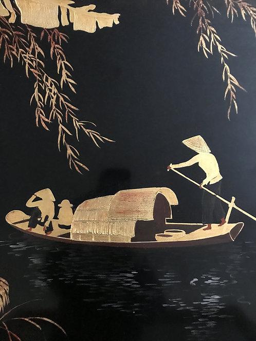 Nguyen Thu (1930) - Panneau en bois laqué - Sampans sur la rivière